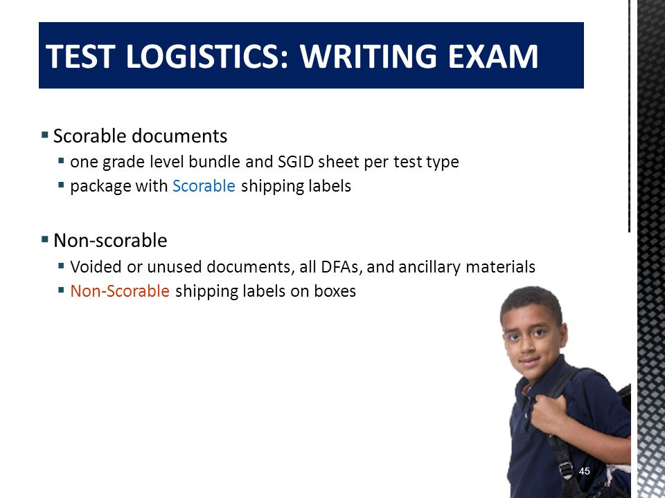 TEST LOGISTICS: WRITING EXAM