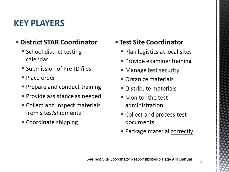 KEY PLAYERS District STAR Coordinator Test Site Coordinator
