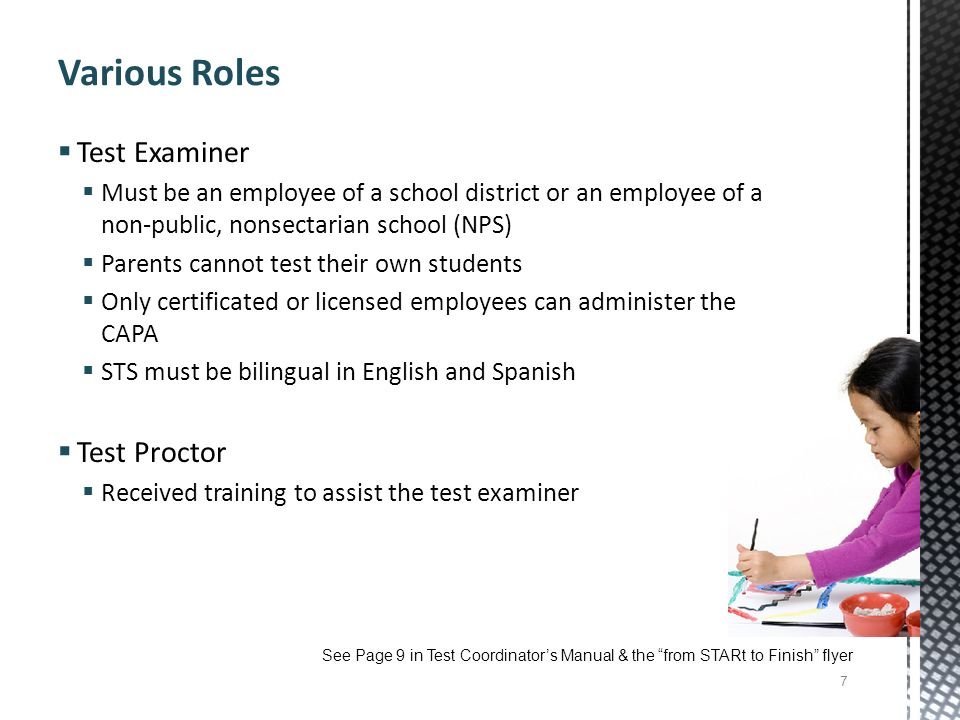 Various Roles Test Examiner Test Proctor