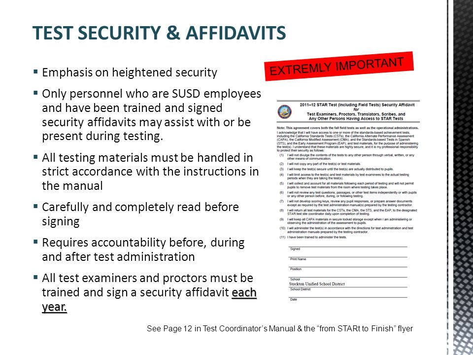 TEST SECURITY & AFFIDAVITS