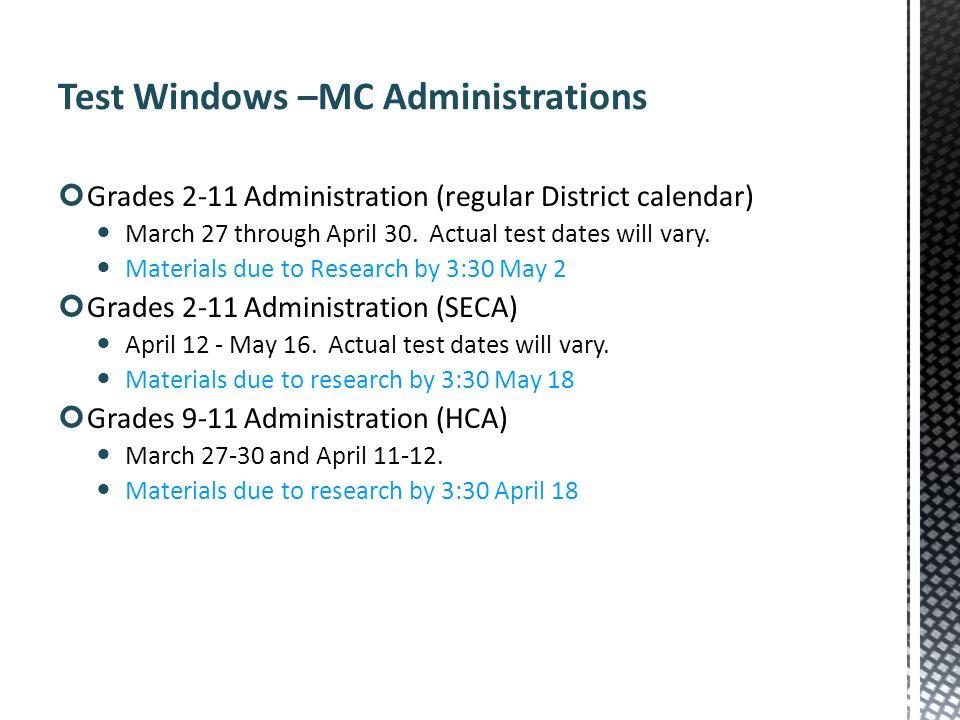 Test Windows –MC Administrations
