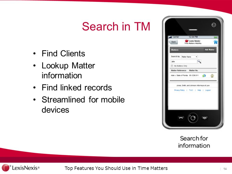 Search in TM Find Clients Lookup Matter information
