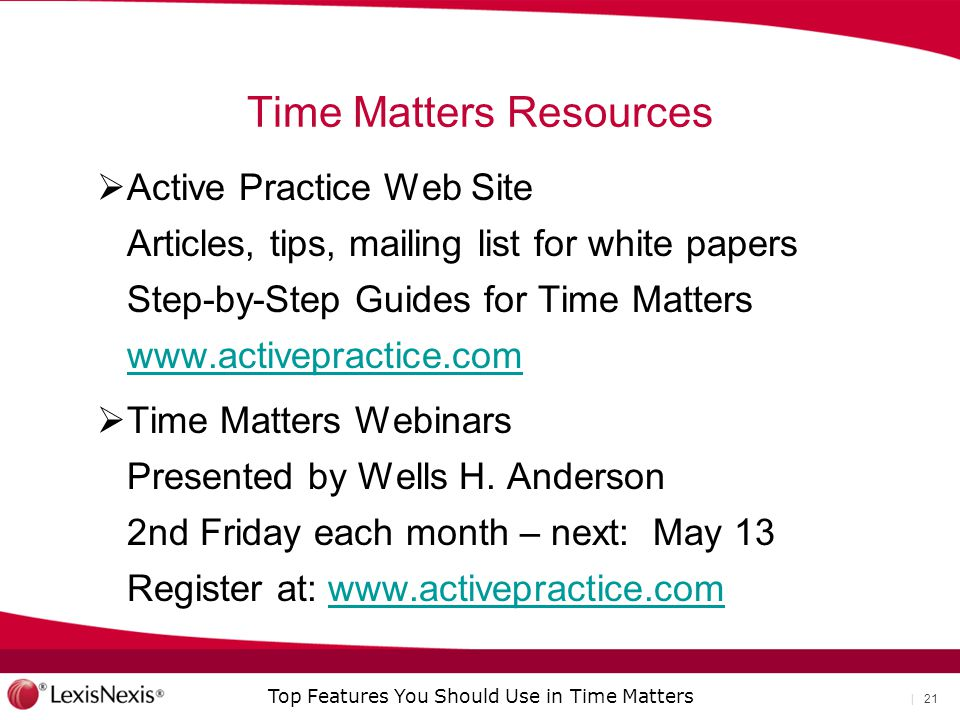 Time Matters Resources