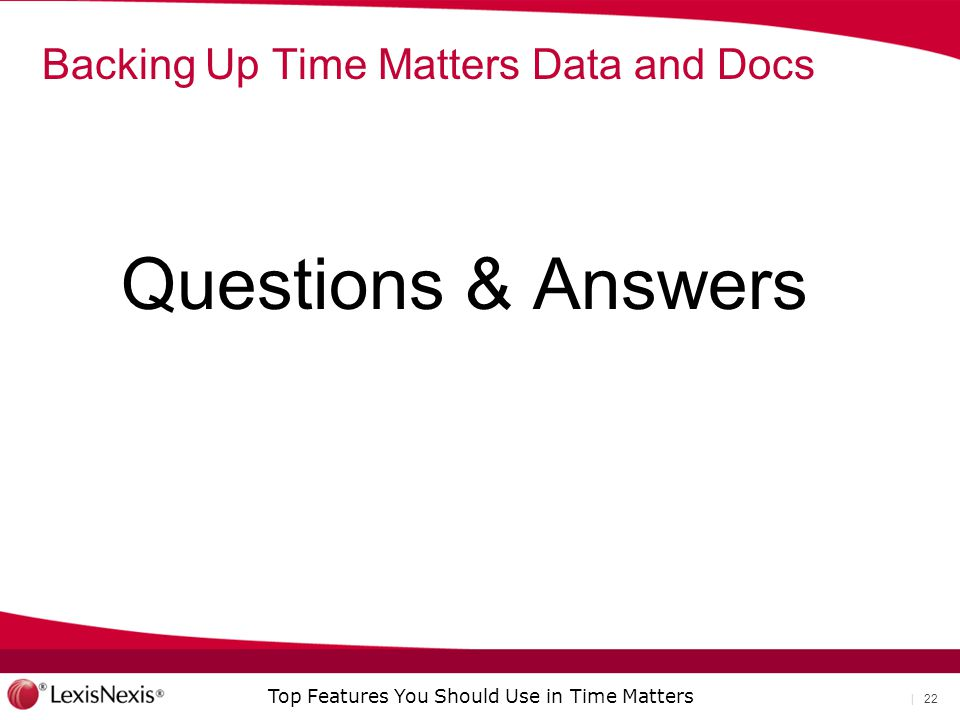 Backing Up Time Matters Data and Docs