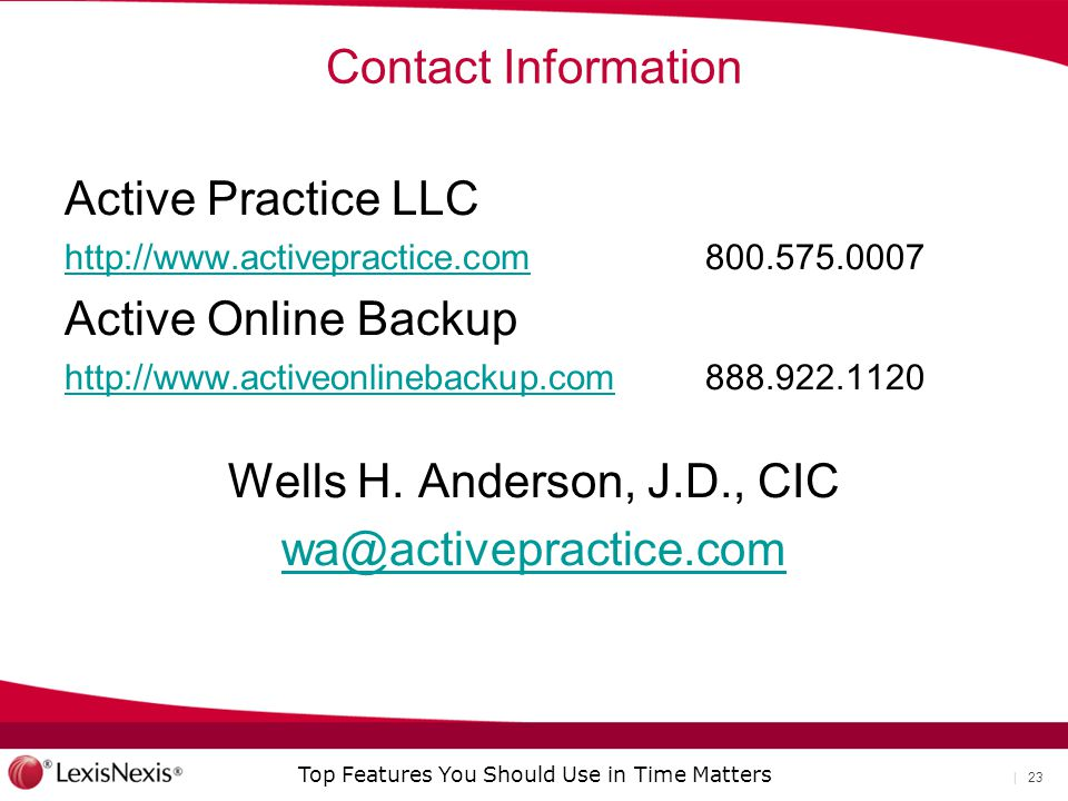 Contact Information Active Practice LLC Active Online Backup.