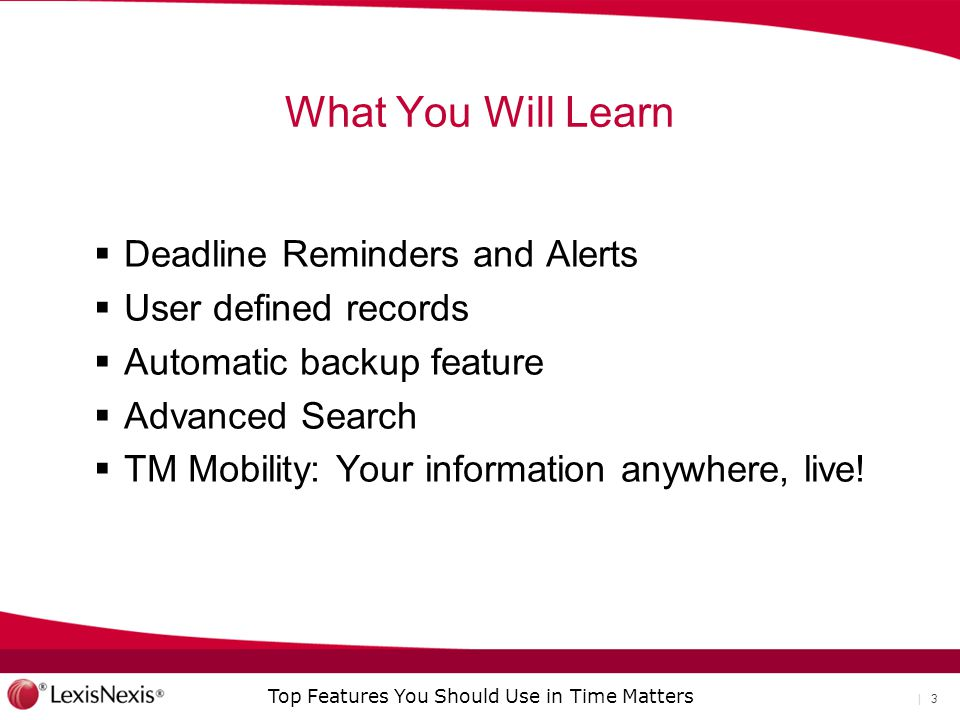 What You Will Learn Deadline Reminders and Alerts User defined records