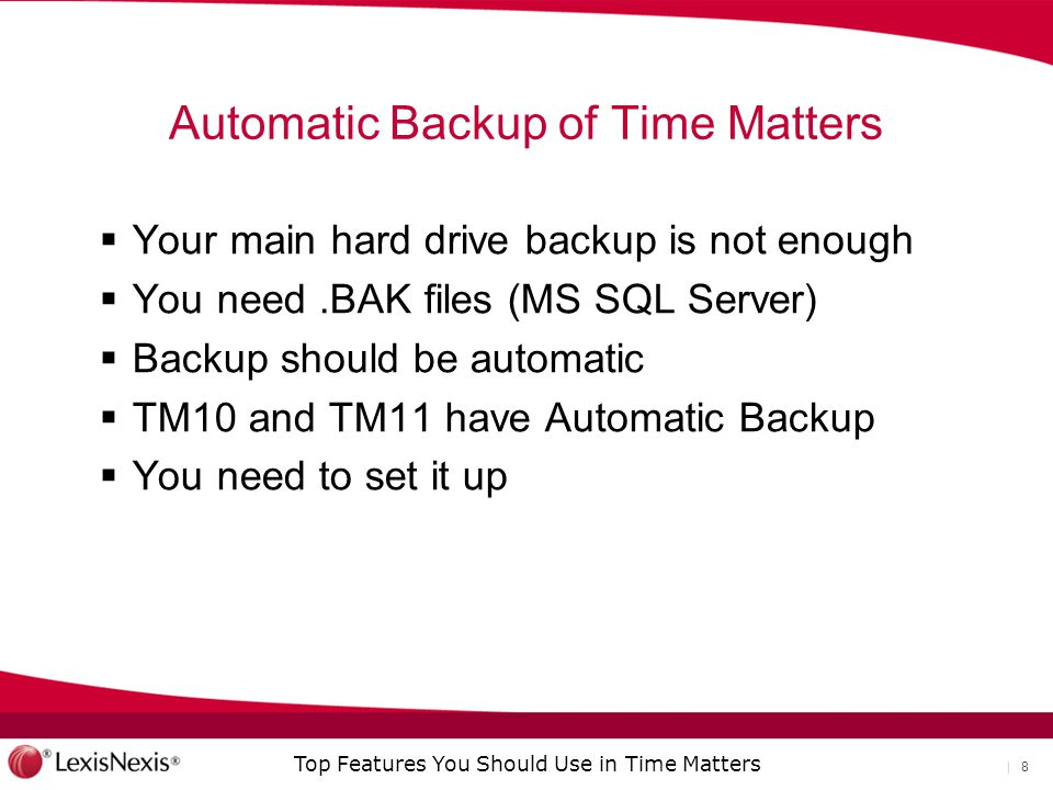 Automatic Backup of Time Matters