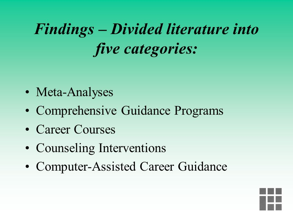 Findings – Divided literature into five categories: