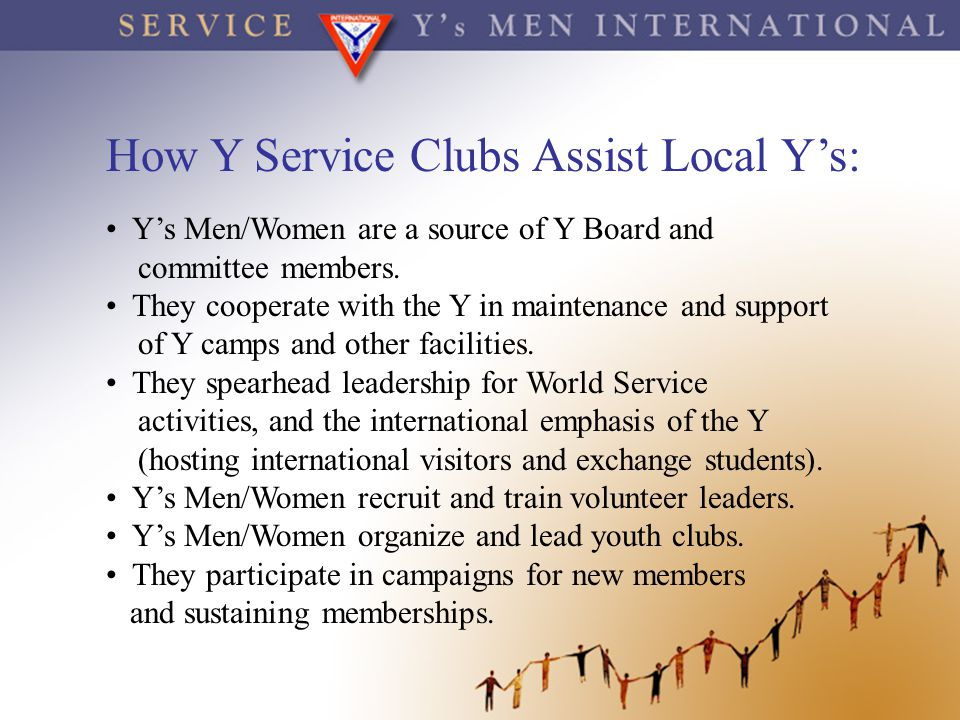 How Y Service Clubs Assist Local Y's:
