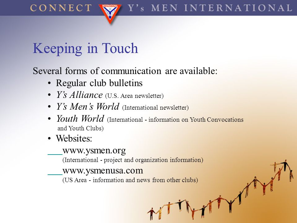 Keeping in Touch Several forms of communication are available: