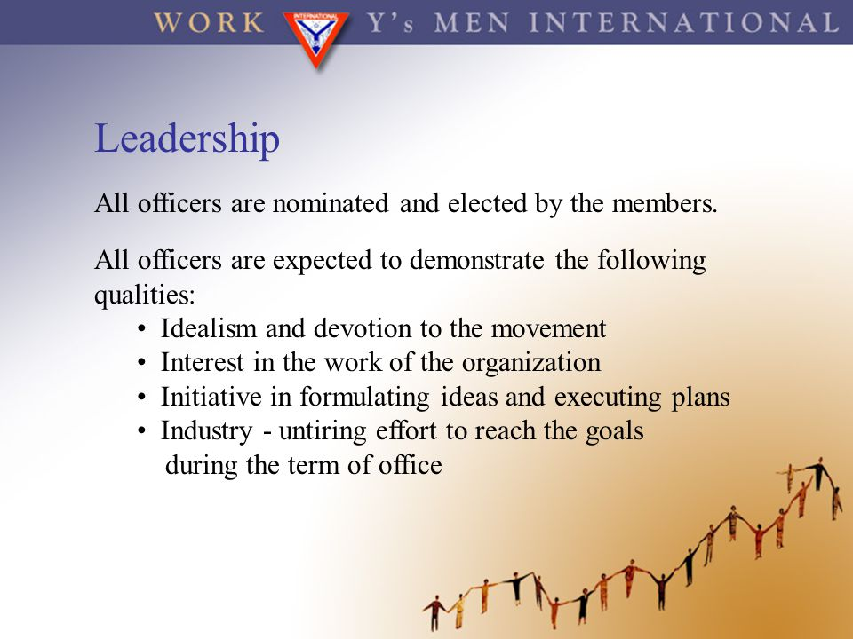 Leadership All officers are nominated and elected by the members.