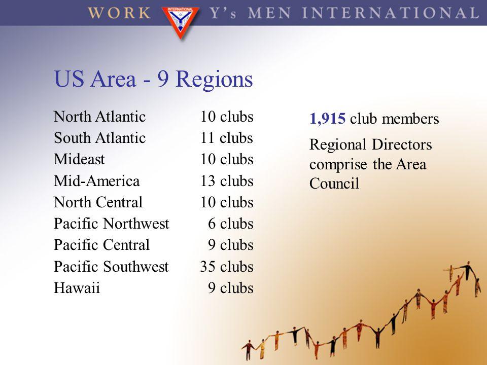 US Area - 9 Regions North Atlantic 10 clubs South Atlantic 11 clubs
