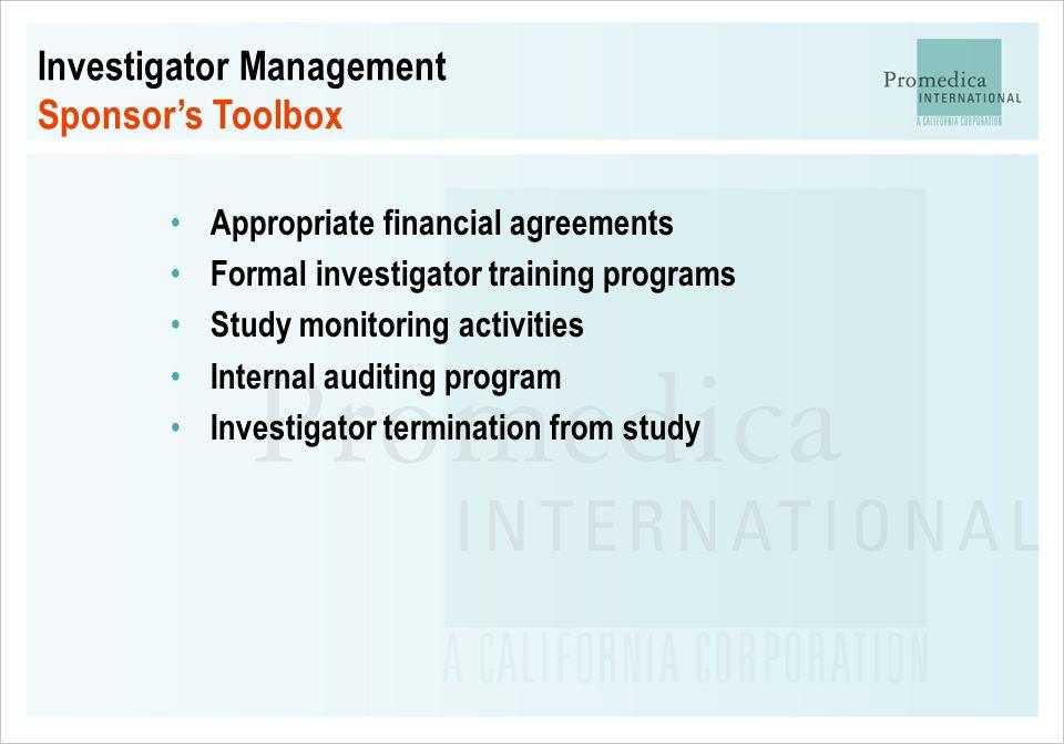 Investigator Management Sponsor's Toolbox
