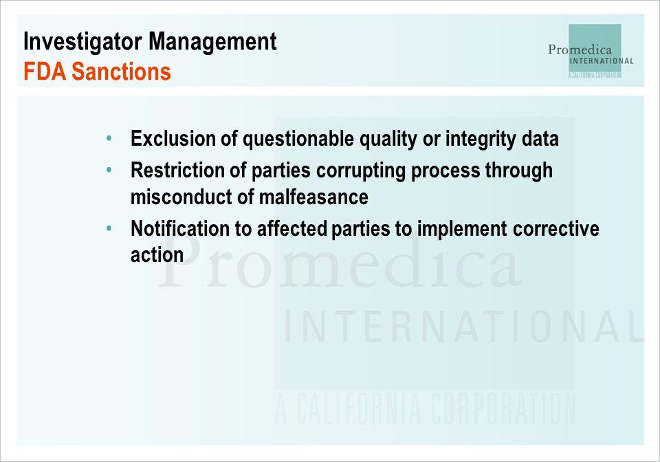 Investigator Management FDA Sanctions