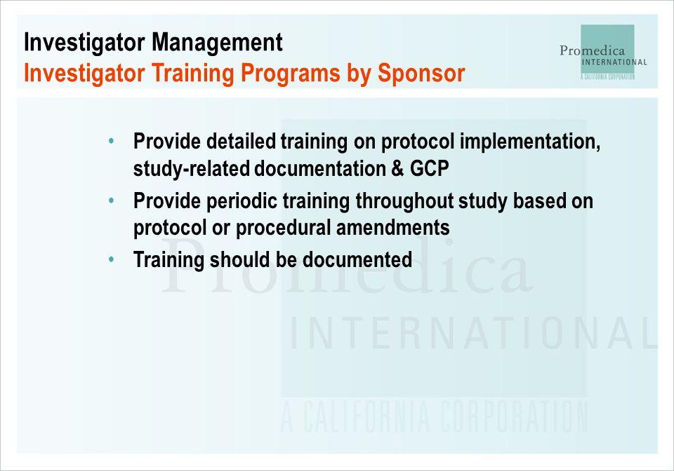 Investigator Management Investigator Training Programs by Sponsor