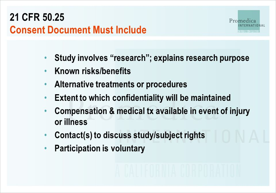 21 CFR 50.25 Consent Document Must Include