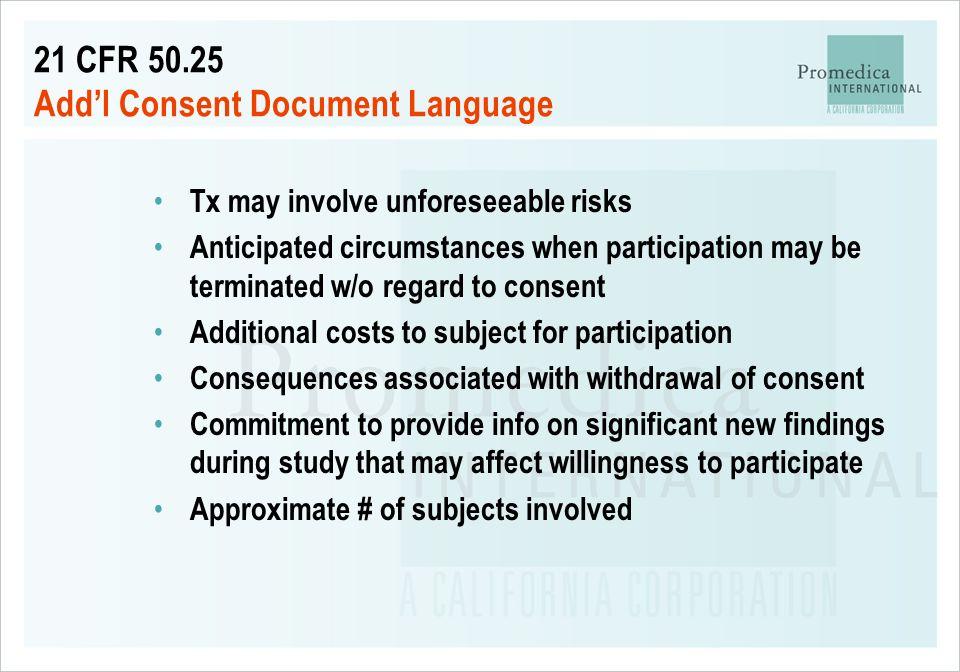 21 CFR 50.25 Add'l Consent Document Language