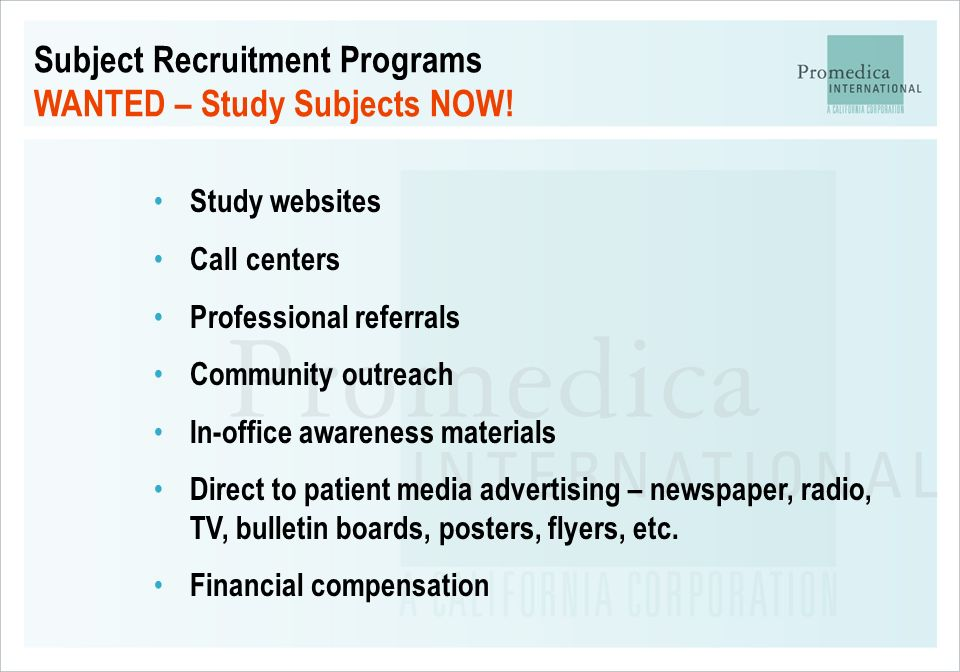 Subject Recruitment Programs WANTED – Study Subjects NOW!