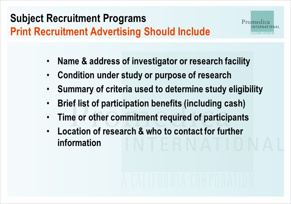 Subject Recruitment Programs Print Recruitment Advertising Should Include