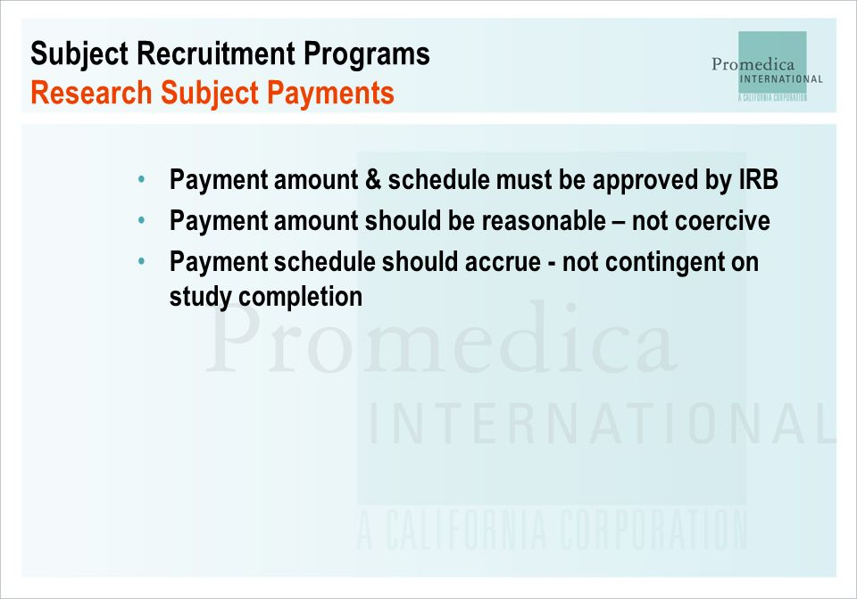 Subject Recruitment Programs Research Subject Payments