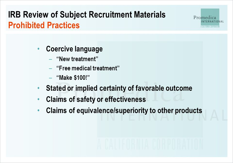 IRB Review of Subject Recruitment Materials Prohibited Practices