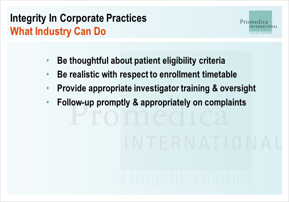 Integrity In Corporate Practices What Industry Can Do