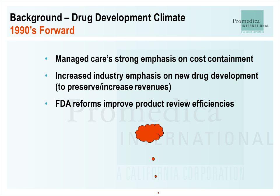 Background – Drug Development Climate 1990's Forward