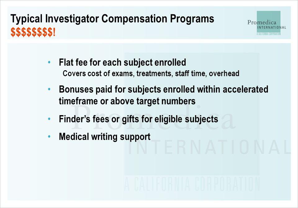 Typical Investigator Compensation Programs $$$$$$$$!