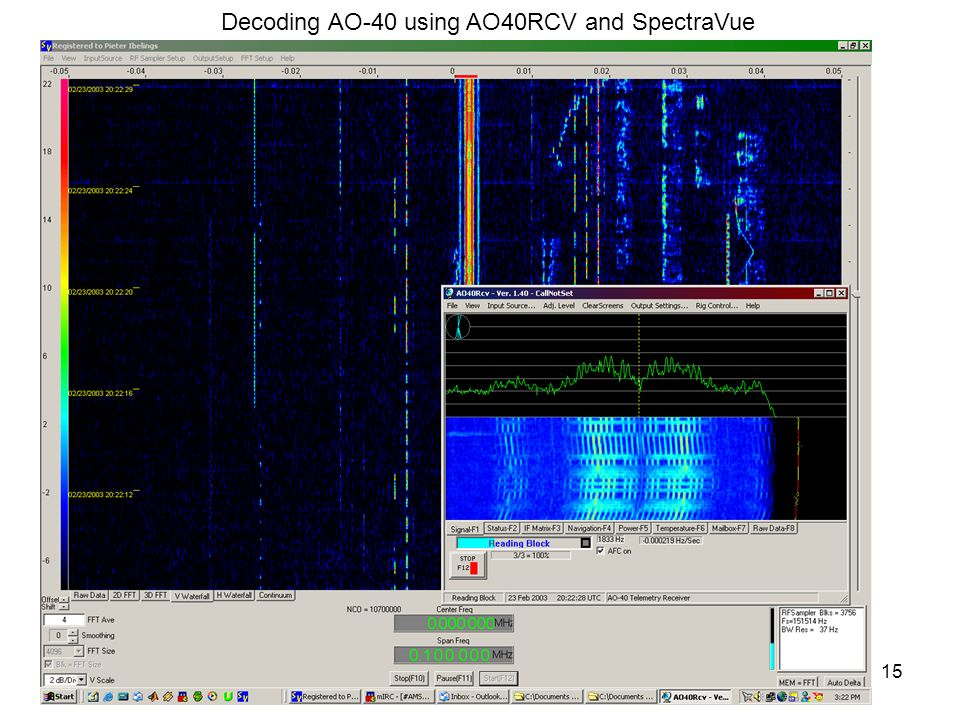 Decoding AO-40 using AO40RCV and SpectraVue
