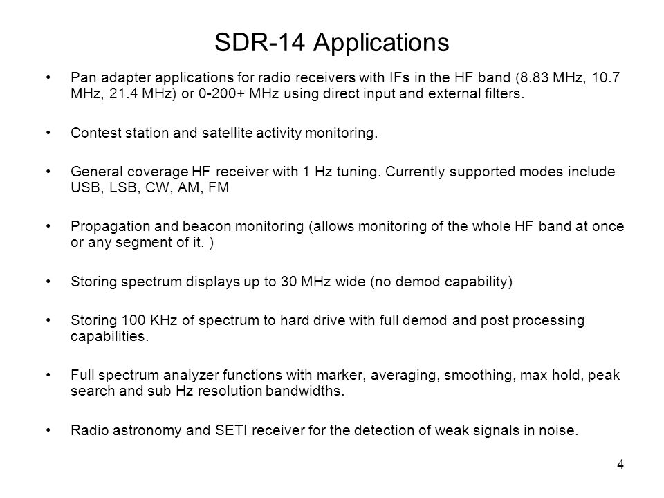 SDR-14 Applications