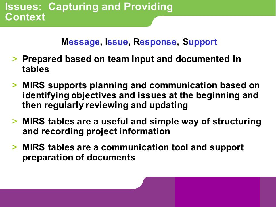 Issues: Capturing and Providing Context