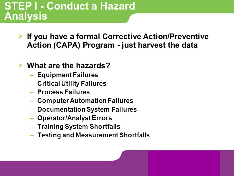 STEP I - Conduct a Hazard Analysis