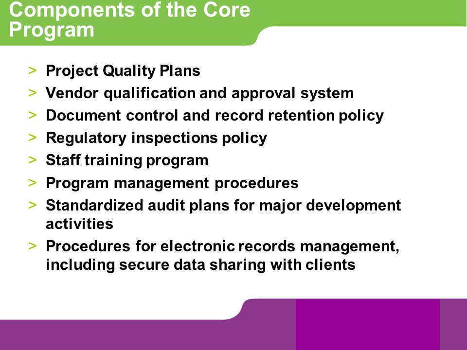 Components of the Core Program