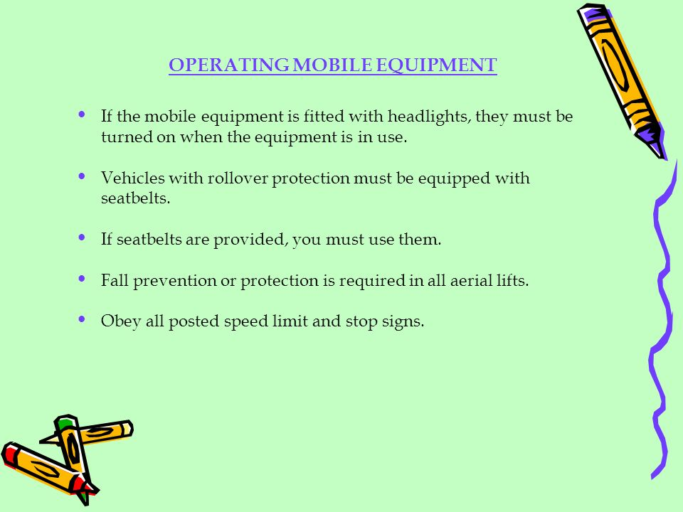 OPERATING MOBILE EQUIPMENT