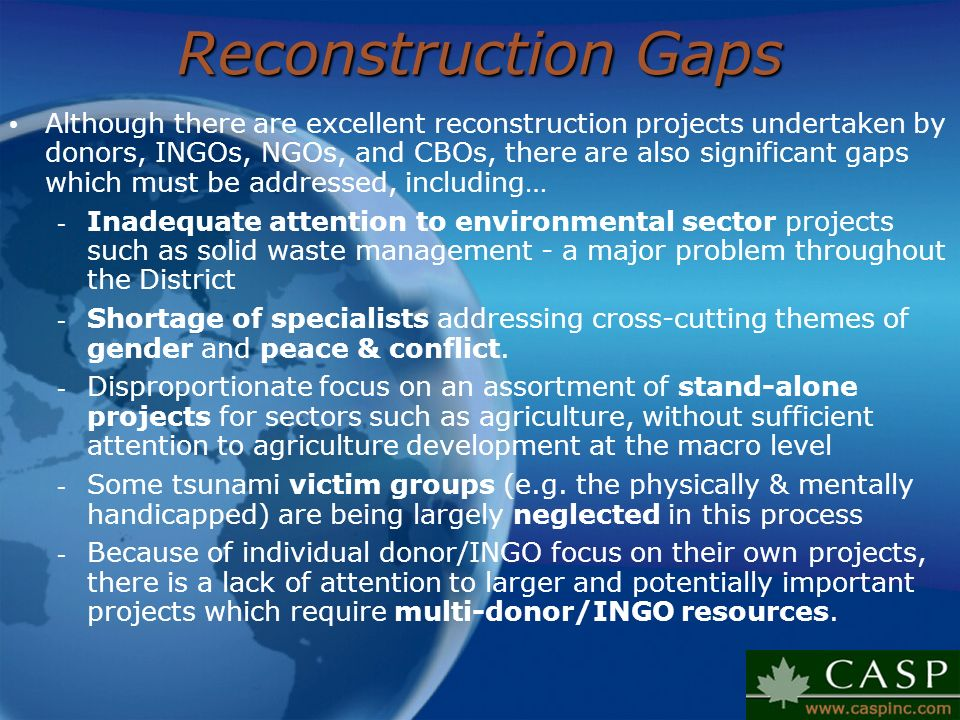 Reconstruction Gaps