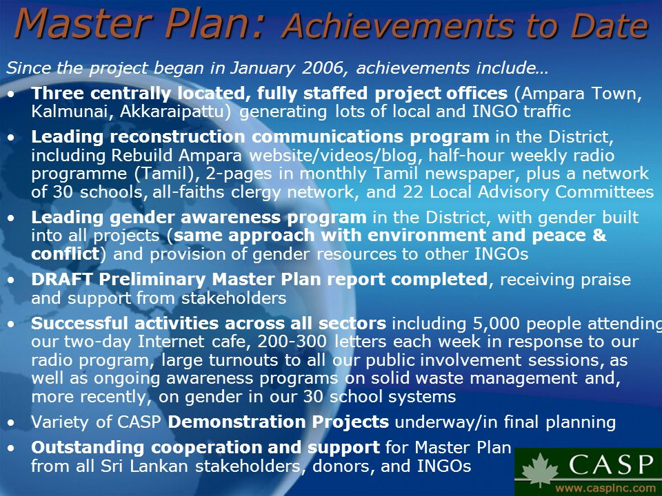 Master Plan: Achievements to Date