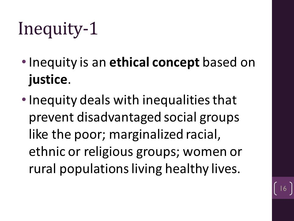 Inequity-1 Inequity is an ethical concept based on justice.