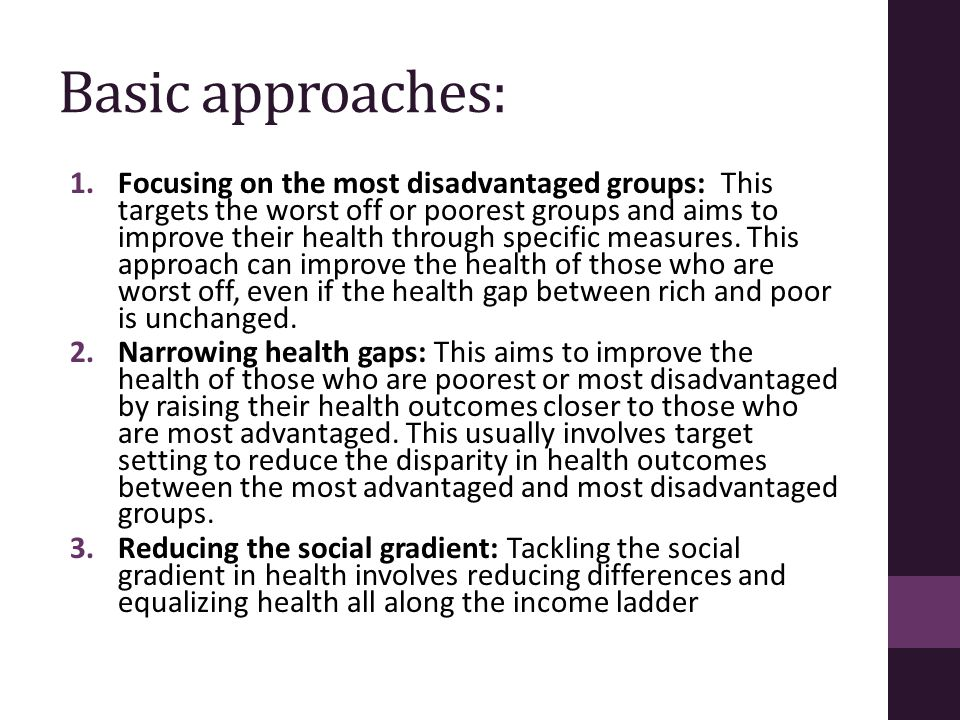 Basic approaches: