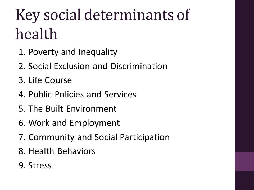 Key social determinants of health