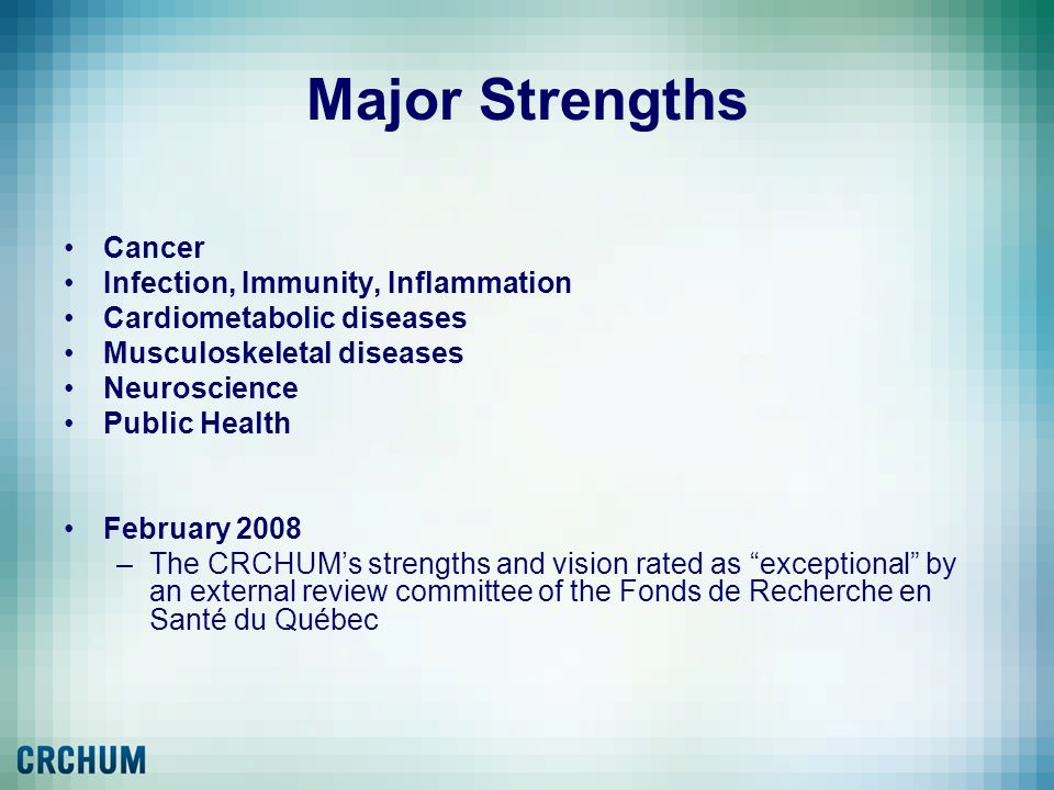 Major Strengths Cancer Infection, Immunity, Inflammation