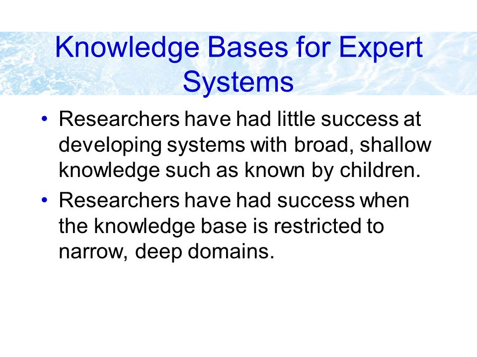 Knowledge Bases for Expert Systems