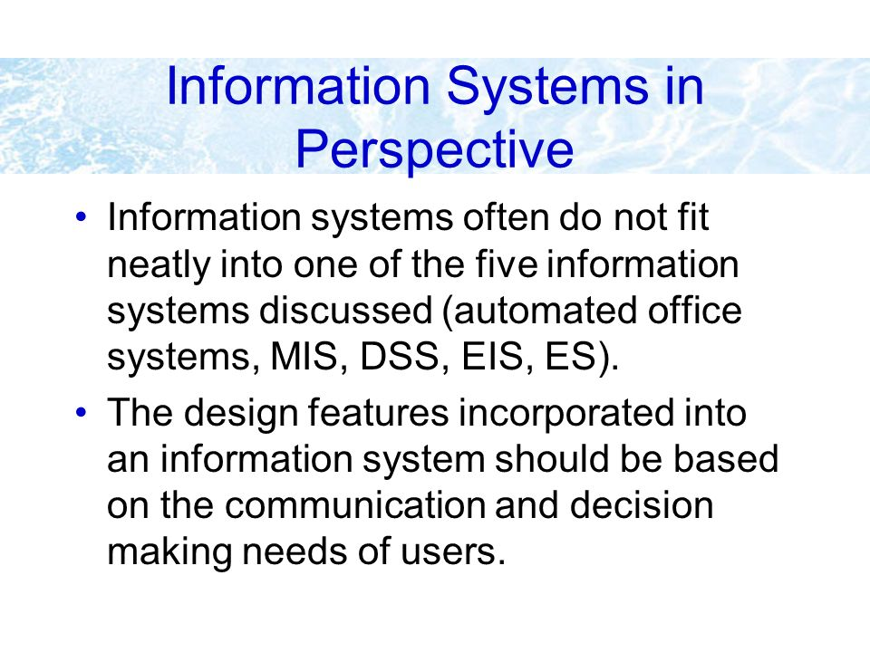 Information Systems in Perspective