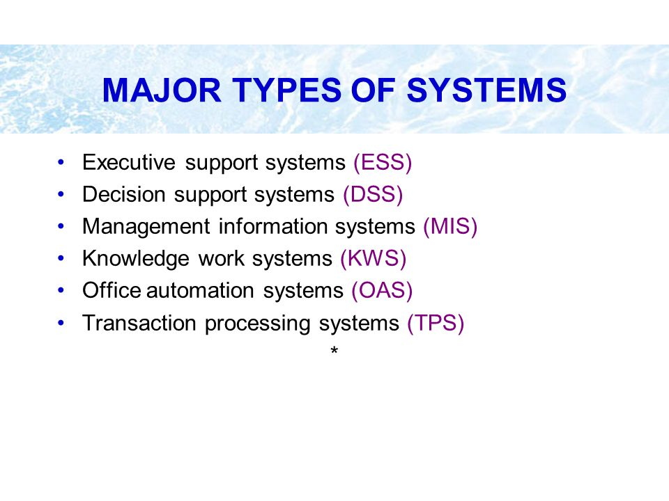 MAJOR TYPES OF SYSTEMS Executive support systems (ESS)