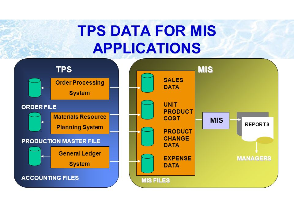 TPS DATA FOR MIS APPLICATIONS