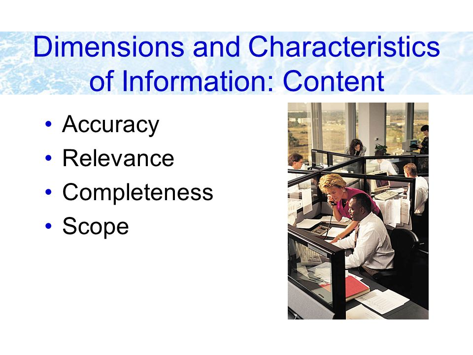 Dimensions and Characteristics of Information: Content