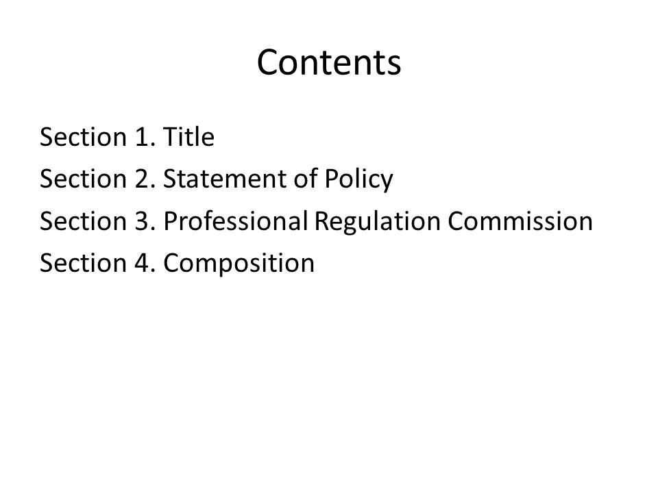 Contents Section 1. Title Section 2. Statement of Policy Section 3.