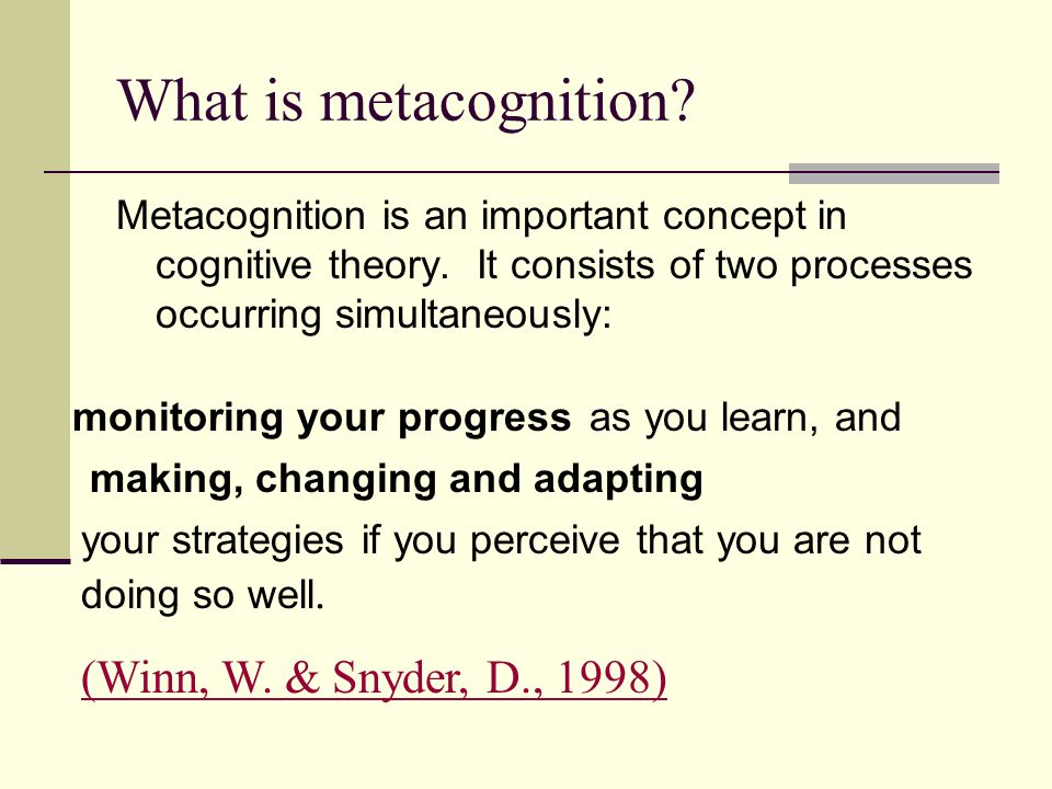 What is metacognition (Winn, W. & Snyder, D., 1998)