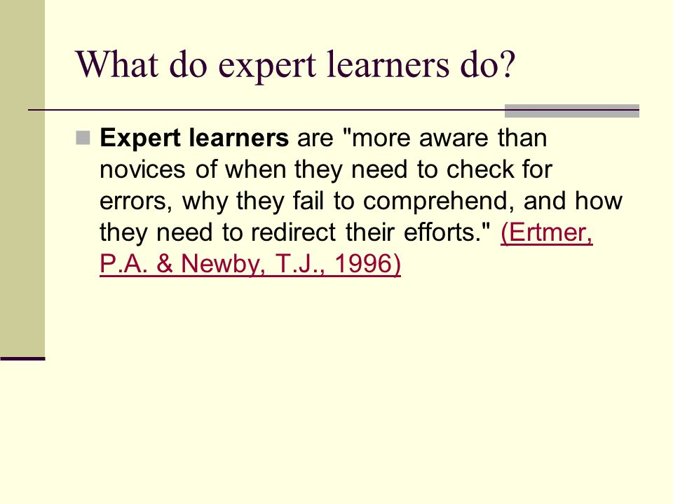 What do expert learners do