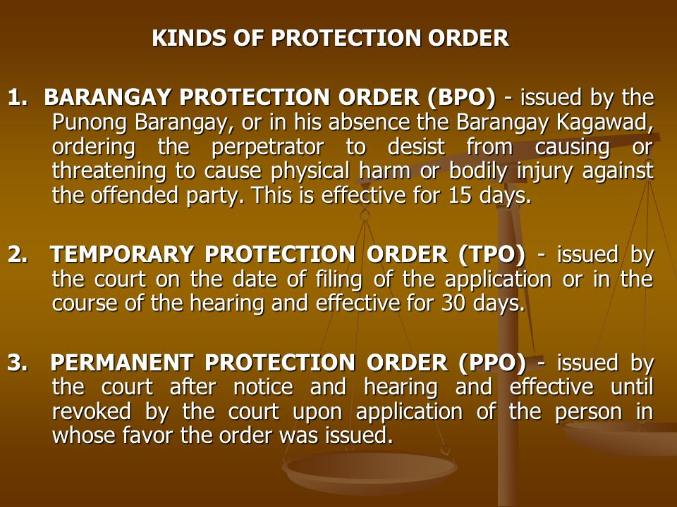 KINDS OF PROTECTION ORDER