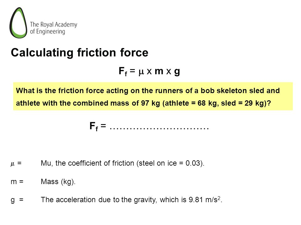 Calculating friction force
